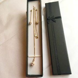 Stunning 14k gold Diamond and crystal jewelry set.